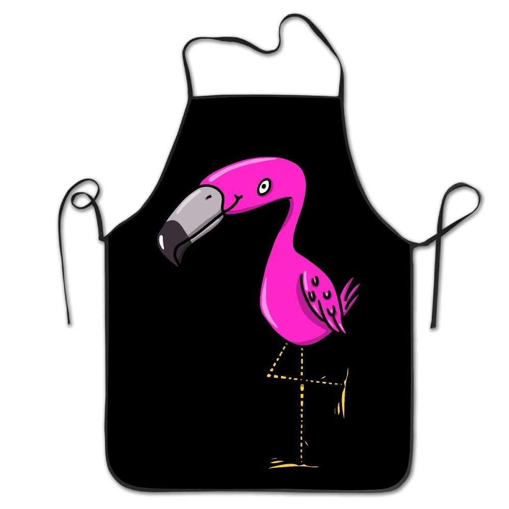 amiuhoun フラミンゴ ピンク レディース メンズ キッチン ビブエプロン バーベキュー ティーショップ 調節可能なネックシェフエプロン   B07GKTKNG6