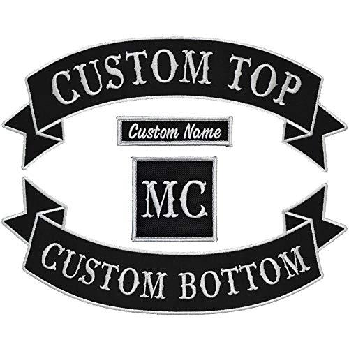 Custom Biker Vest Patch 4 Piece Set - Banner Style Tab and Rocker - Sew On