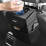 HOTOR Car Trash Can with Lid and Storage Pockets - 100% Leak-Proof Car Organizer - Waterproof Car Garbage Can - Multipurpose Trash Bin for Car - Black