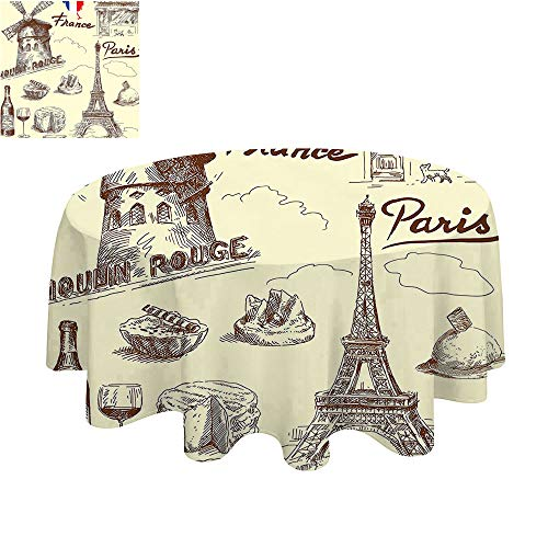 SATVSHOP Home Luxury Round tablecloth-45Inch-For Buffet Table, Festive Dinner.Eiffel Tower Patisserie taurant Drink Traditional Food Che e Tasty Menu Sketchy Doodl. -