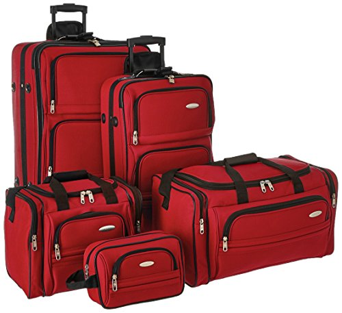 5 Piece Leather Luggage Set - Samsonite Outpost 5 Piece Nested Luggage Set (Red)