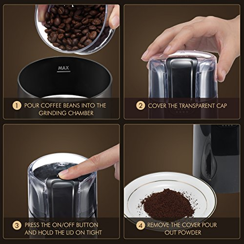Homitt Electric Coffee Grinder, One-Touch Coffee Bean Grinder with Upgrade Noiseless Motor and 301 Stainless Steel Blades for Evenly and Versatile Grinding-Support Home and Office Portable Use by Homitt (Image #5)