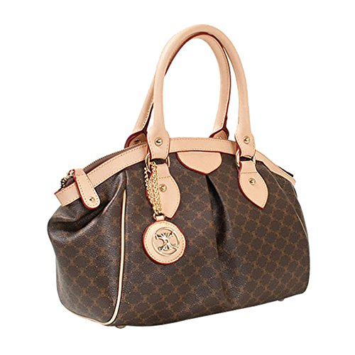 Leather Accents Daily Tote Handbag (beige) (Louis Handbags Vuitton Fake)
