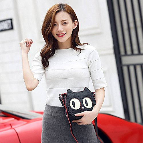 Mn Over Body Cat Cute Purse Vivid Solid Girl Cross Sweet Cartoon Face amp;Sue Black Bag Messenger Flip Saddle 3D Hr1HqAO