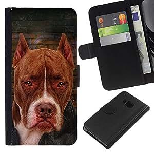 eJoy---La carpeta del tirón la caja de cuero de alta calidad de la PU Caso protector - HTC One M7 - --Brown Terrier Dog Breed Canine