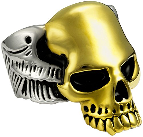 Stainless Steel 14kt Yellow Gold IP Plated Wide Cast Skull Biker Ring, Size 10