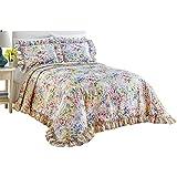 Floral Watercolor Gardenscape Lightweight Plisse Bedspread, Queen