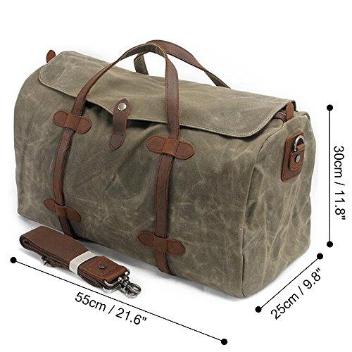 e31a8b63a9 S-ZONE Waterproof Waxed Canvas Leather Trim Travel Tote Duffel Handbag  Weekend Bag
