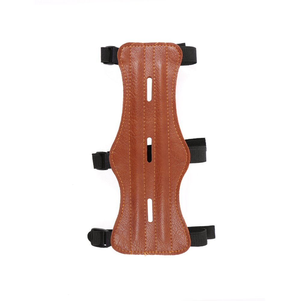 Nrpfell Pu Leather 3 Strap Shooting Target Archery Arm Guard Protection Safe Strap