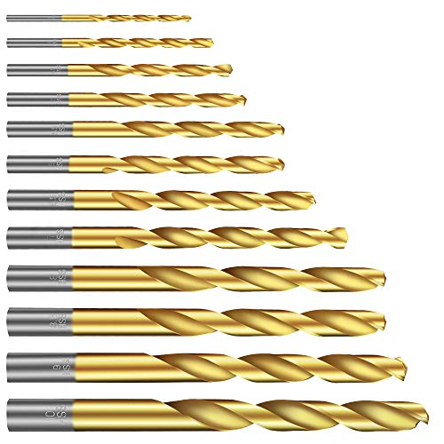 Twist Drill Bit Set(12PCS), Werkzeug Titanium Drill Bit Set General Purpose High-Speed Steel, Metal Drill Bits Set for Wood, Plastic, Metal, Aluminum Alloy etc (1/8