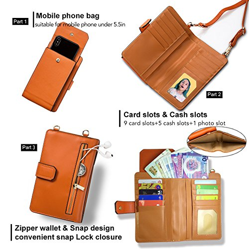 iPhone 7plus Wallet Case iPhone 6 Case Cell Phone Crossbody Shoulder Purse Bag Small Messenger Pouch Bags with Card Holder Slot for iPhone 8 8plus 7 7plus 6S 6 6plus (Orange) by SHINEFUTURE (Image #3)