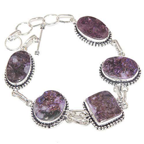 Handmade Purple Natural Charoite Jasper 925 Sterling Silver 10 Bracelet #KS-3656