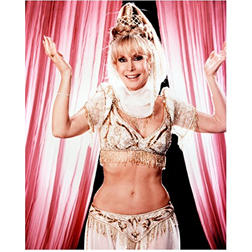 Barbara Eden 8 Inch x10 Inch Photo I Dream of Jeannie 7 Faces of Dr. Lao Harper Valley P.T.A. Gold Beaded White Costume Pink Curtains in Background kn -