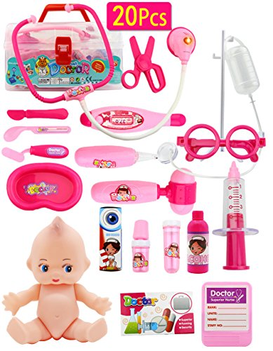 Doctor Kit Set Dentist Playset, Pretend Play Toy Medical Set for 3 Years Old Girls-Promote Fine Motor Skills & Educational Learning, Boost Imagination & Creativity