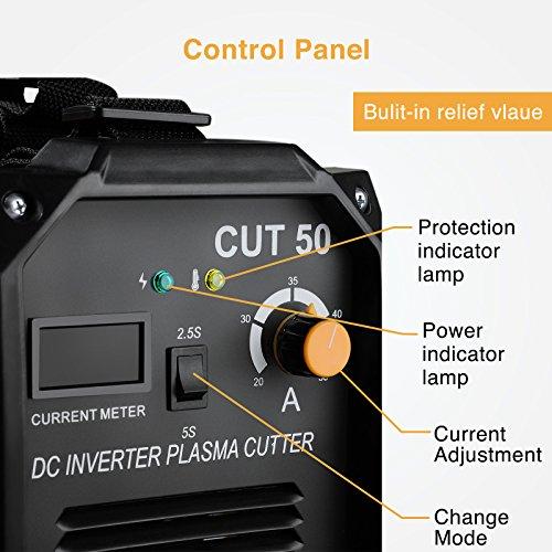 SUNCOO Plasma Cutter Electric DC Inverter Machine with Digital Display Dual Voltage 50 AMP 110/220V Free Mask Cut-50