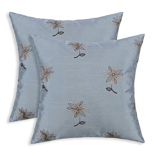 Set of 2 Euphoria CaliTime Pillow Shells Cushion Covers Faux Silk Floral Leaves Embroidered Reversible 17 X 17 Inches