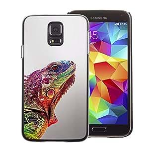 A-type Arte & diseño plástico duro Fundas Cover Cubre Hard Case Cover para Samsung Galaxy S5 (Gecko Commando Blurry Lizard Exotic)