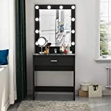 make up table Tribesigns Vanity Set with Lighted Mirror, Makeup Vanity Dressing Table Dresser Desk for Bedroom, Black (10 Cool White LED Bulbs)
