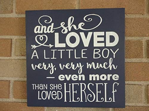 and She Loved A Little Boy Very Very Much Even More Than Herself Baby Decor Littleboys Bedroom Decor Nursery Sign Black Home Wood Sign Funny Craft Wall Decor
