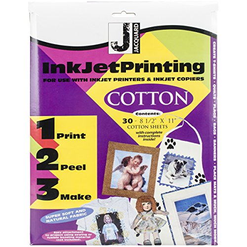 Jacquard Ink Jet Fabric 8.5'' x 11'' Cotton Sheets (30 Pack) (Picture Transfer To Fabric)