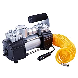 TIREWELL 12V Tire Inflator - Heavy Duty Double Cylinders Direct Drive Metal Pump 150PSI, Air Compressor with Battery Clamp and 5M Extension Air Hose, SUVs / Trucks / Vans / RVs