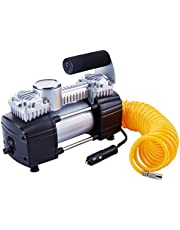 TIREWELL 12V Tire Inflator-Heavy Duty Double Cylinders Direct Drive Metal Pump 150PSI, Compressor with Battery Clamp and 5M Extension Air Hose, SUVs/Trucks/Vans/RVs
