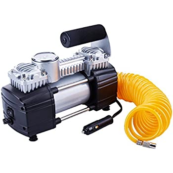 TIREWELL 12V Tire Inflator-Heavy Duty Double Cylinders Direct Drive Metal Pump 150PSI, Compressor with Battery Clamp and 5M Extension Air Hose, ...