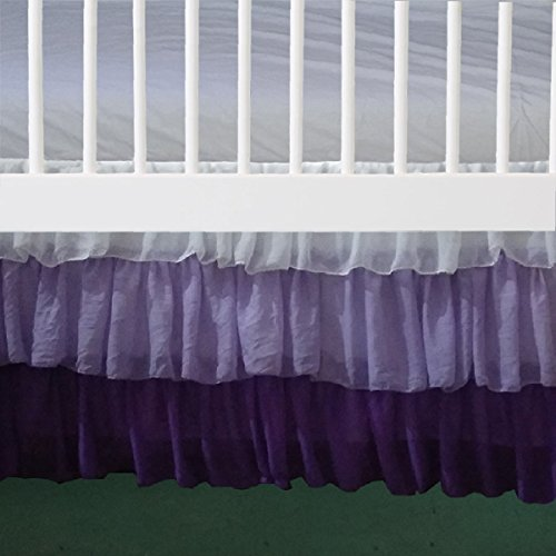 "3 Layer White Lilac purple Ruffled Chiffon Mini Crib Skirt 3 sided 16"" drop"