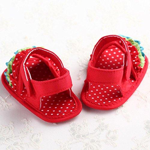 Tefamore Zapatos Sandalias bebé de recién nacido flor suave suela zapatillas antideslizante Niño Cuna Rojo