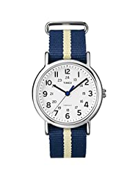 """Timex Unisex T2P1429J""""Weekender"""" Watch with Navy and Yellow Nylon Band"""