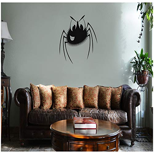 - Smiling Spider Cartoon Funny Halloween Vinyl Wall Mural Decal (Black) - Peel and Stick Sticker Graphic - Auto, Wall, Laptop, Cell, Truck Sticker for Windows, Cars, Trucks