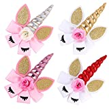 Girl 8 Pcs 8'' Unicorn Cheer Clips for Baby Girl Toddlers Hairpins for Sports Cheerleader (Light 4 Pairs)
