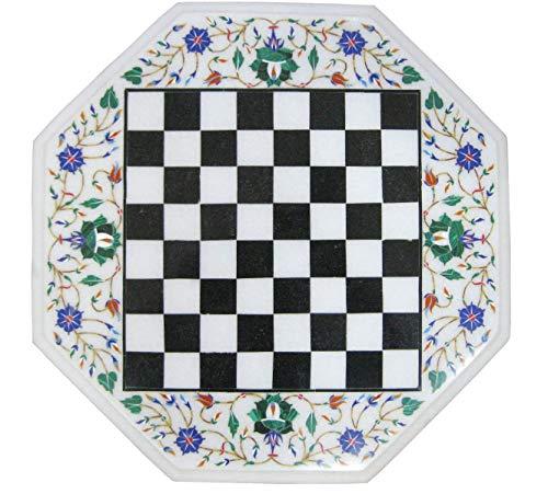 Khusboo Designs Mosaic Marble Chess Coffee Table Inlay Lapis Lazuli Semi Precious Stones Sofa Side Tables