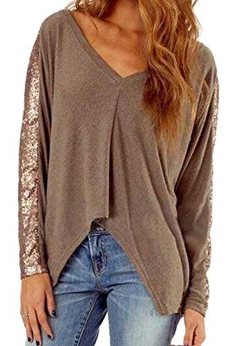 La Mujer Es Elegante Con Cuello En V Profundo Sequince Patchwork T Shirts Khaki