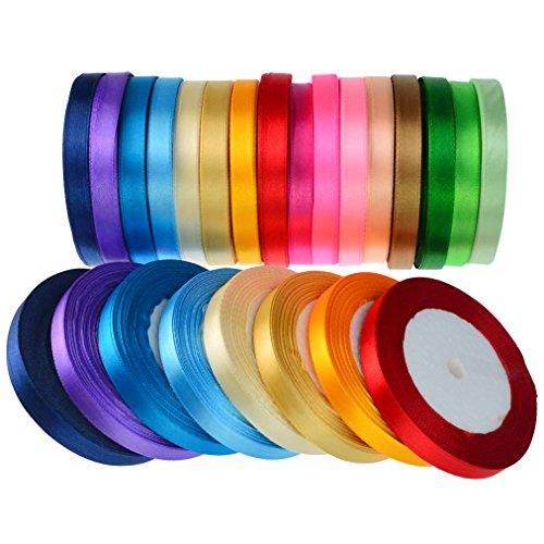 16 Colors 800 Yard Satin Ribbons, baotongle Fabric Ribbon Silk Satin Roll Satin Ribbon Rolls, Satin Ribbon Fabric Ribbon Embellish Ribbon Ribbon for Bows Crafts Gifts Party Wedding 32 Rolls ()