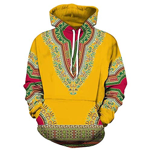 WOCACHI Mens Hoodies 3D African Boho Pullover Unisex