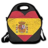Faverlkujj Spain Flag Heart Spanish Lunch Tote Insulated Reusable Picnic Lunch Bags Boxes For Men Women Adults Kids Toddler Nurses