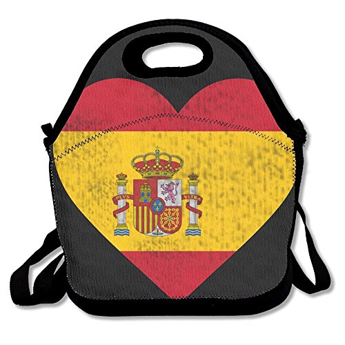 Faverlkujj Spain Flag Heart Spanish Lunch Tote Insulated Reusable Picnic Lunch Bags Boxes For Men Women Adults Kids Toddler Nurses by Faverlkujj