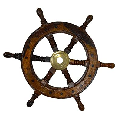 "12""Dia Decorative Solid Wood and Brass Ship Wheel"