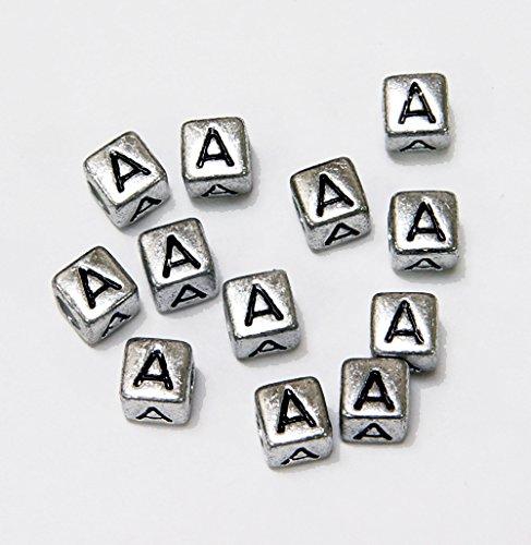 mm Silver Metallic Alphabet Beads Black Letter