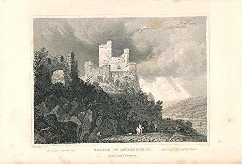 (Rheinstein Castle near Trechtingshausen Germany c.1845 nice antique view print )