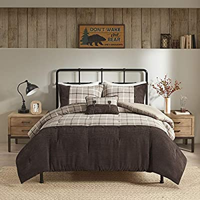Woolrich Anaheim Cabin Lifestyle Comforter Casual Plaid Design Modern Lodge Style All Season Down Alternative Bedding Set Matching Sham Decorative Pillow Full Queen 92 X94 Tan Brown 4 Piece Amazon Ae
