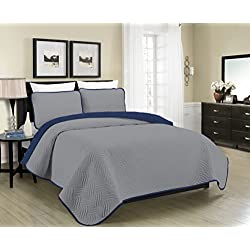 Blissful Living Reversible Luxury Pinsonic Solid Quilt Set Including Shams – Lightweight and Soft for All Year Round Comfort, Available in Twin, Full/Queen and King Size (Grey/Navy, Twin)