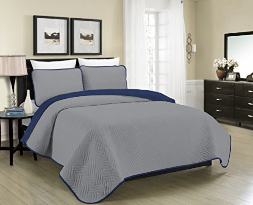(Blissful Living Reversible Luxury Pinsonic Solid Quilt Set Including Shams - Lightweight and Soft for All Year Round Comfort, Available in Twin, Full/Queen and King Size (Grey/Navy, Twin))