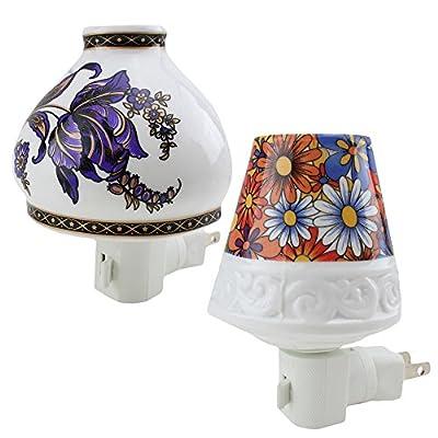 2 Pack Ceramic Night Light Set - Flower Design Lamp Plug-in Home Decor Birthday Christmas Gift ~ WPYST ( LS01995 + LS01997)