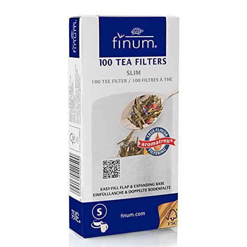 Finum Disposable Paper Tea Filter Bags for Loose Tea, White, Slim, 100 Count