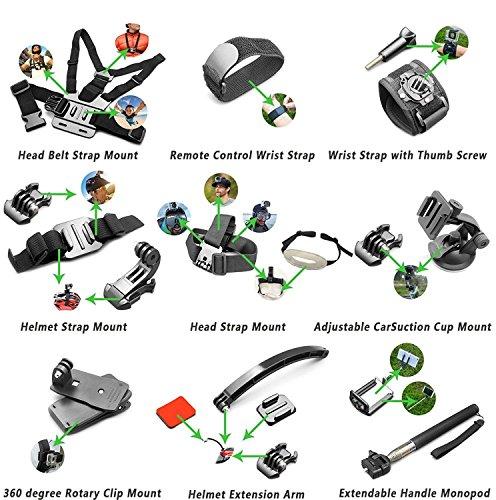 Accessory Kit(55 in 1) for Gopro Hero 7 6 5 4 3+ 3 2 1 Hero Session 5 Black Akaso Ek7000 Apeman Sj4000 5000 6000 Dbpower AKASO VictSing Wimius Rollei Qumox Lightdow Campark Sony Sport DV with Case by Gogolook (Image #3)