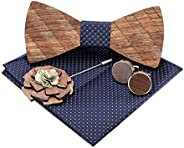 Amzchoice Classic Handmade Mens Wood Bow Tie with Matching Pocket Square Men's Cufflinks Lapel Flower