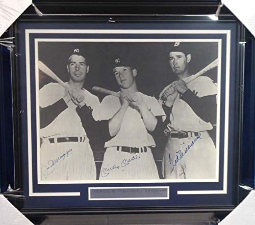 Mickey Mantle, Joe DiMaggio & Ted Williams Autographed Framed 16x20 Photo Beckett BAS #A20744
