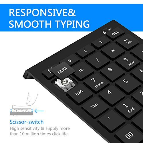 Rytaki Bluetooth Number Pad, Portable Wireless Bluetooth Keypad with Multiple Shortcuts- 28-Key Numeric Keypad Keyboard Extensions for Laptop, Tablets, Surface Pro, Windows, Smartphones and More-Black by Rytaki (Image #2)